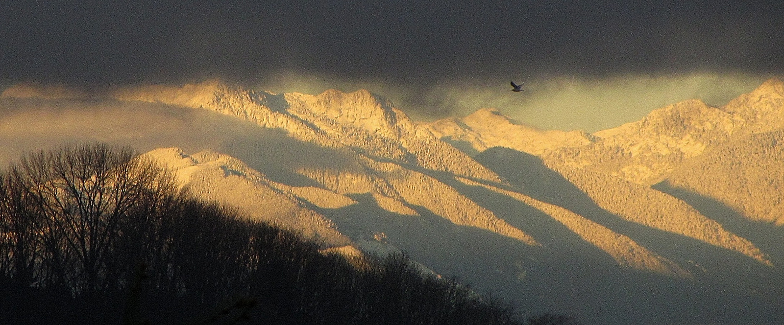 Dark clouds over golden-yellow snow-covered mountains