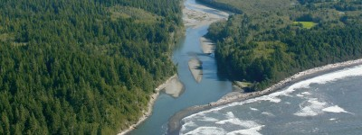 Aerial view Hoh River Mouth